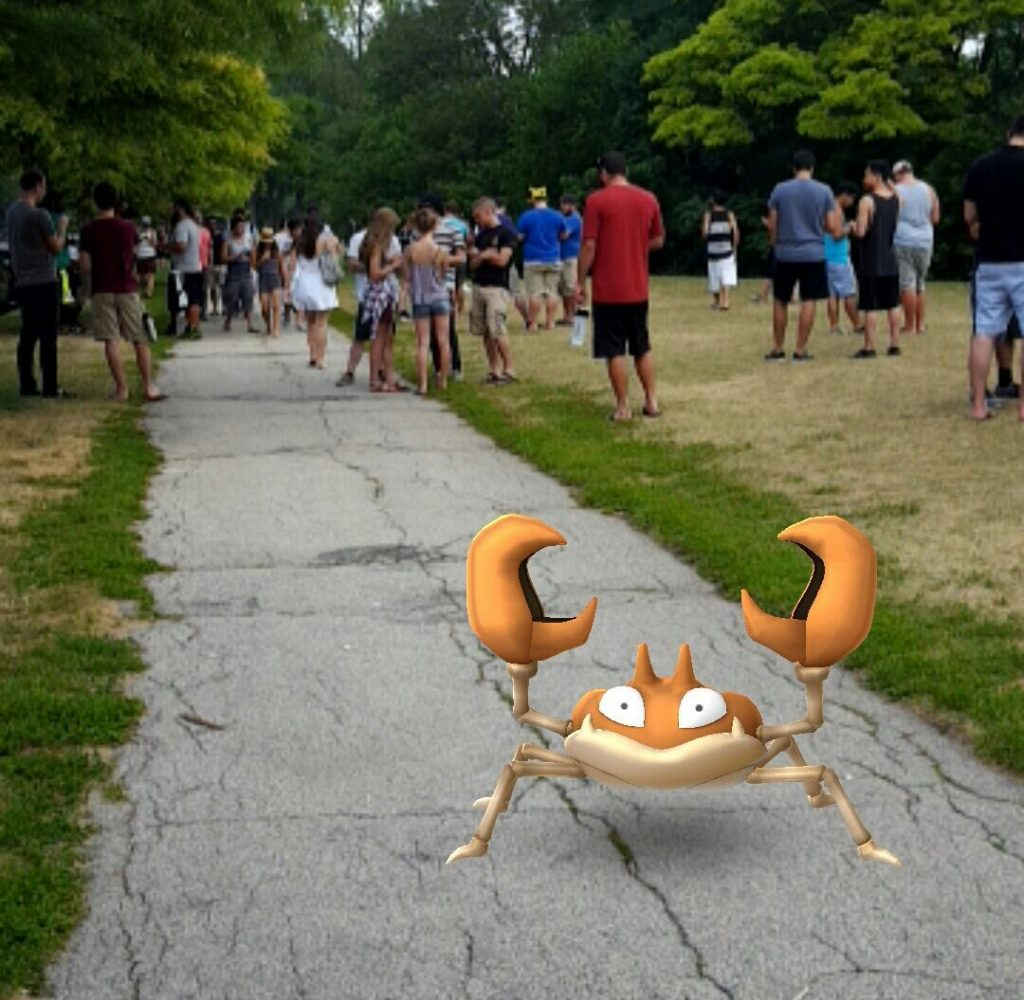 A photo of someone playing Pokemon Go