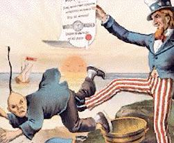 Nineteenth Century US political cartoon of Uncle Sam kicking out the Chinese, refering to the Chinese exclusion act.