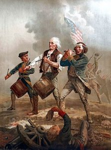Painting depicting a Revolutionary War scene of a young drummer boy, an older man, and another soldier playing the fife as all three march across a battle fleld.