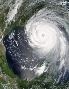 Satellite photo of the swirling air mass of Hurrican Katrina located over the State of Florida.
