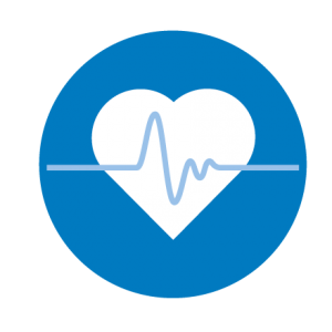 "Symbol of a heart with a jagged line representing an EKG printout superimposed over it, in order to represent the concept of ""wellbeing"""