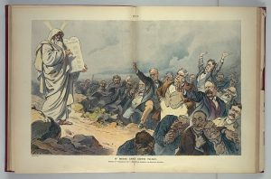 Political cartoon from Puck Magazine in 1908 showing Moses holding the Ten Commandments and various business and Wall Street figures reacting with alarm.