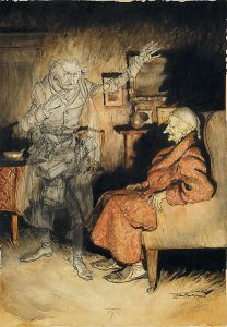 Drawing of an elderly man in sleeping attire sitting in a Victorian style armchair and gazing at the ghost of an elderly man not unlike himself.