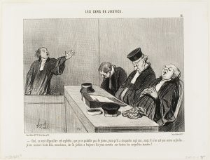 Pen and ink caricature showing a lawyer arguing very strenuously while three judges are sitting at the bench, napping.