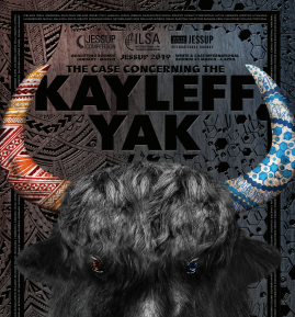 Image of the head of a yak, with multi-colored horns, advertising the Jessup Moot Court Competition.