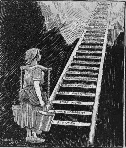"A woman carrying buckets looks up at a ladder leading to the sky; the ladders' rungs are labeled with the various opportunities that have been historically available to women, beginning with ""Slavery"" at the bottom and ""Presidency"" at the top."