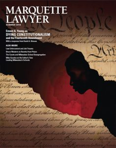 This cover of the summer issue of the Marquette Lawyer.