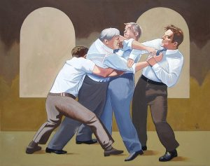 Painting depicting four men dressed in suits grabbing and fighting each other.