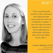 Lauren Maddente's (L'16) comments on pro bono work