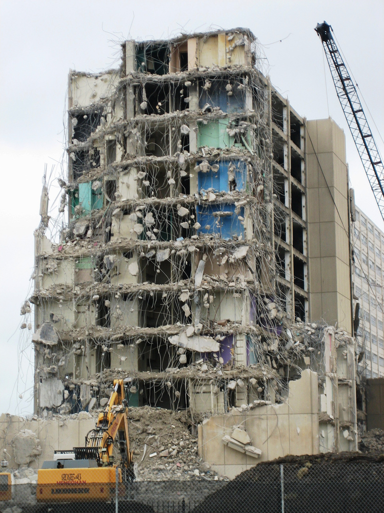 A Cabrini-Green tower being demolished