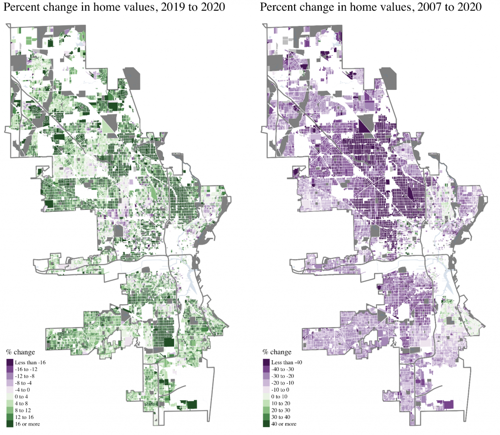 Maps of property value changes by block