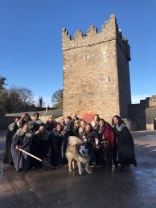 Students at a Game of Thrones set in Belfast
