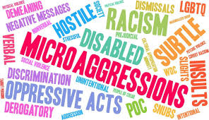 word cloud of words related to microaggressions
