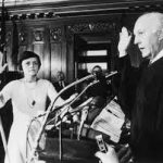 Shirley Abrahamson with raised right hand, taking oath in 1976.