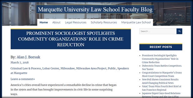 An image of the faculty blog website.