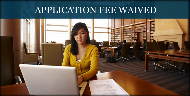 Application Fee Waived - A photo of a student at her computer