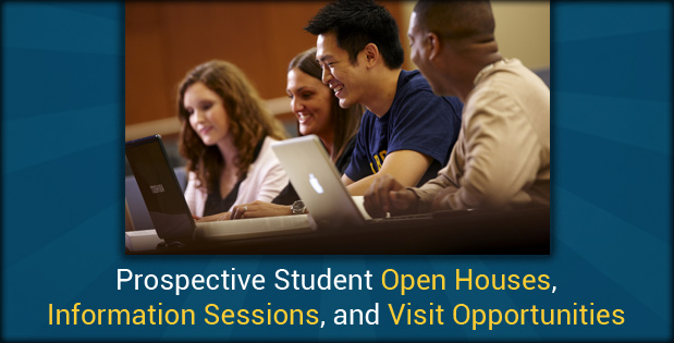 Register for the open house - A photo of students studying